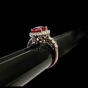 Sterling silver, cubic zirconia & ruby ring